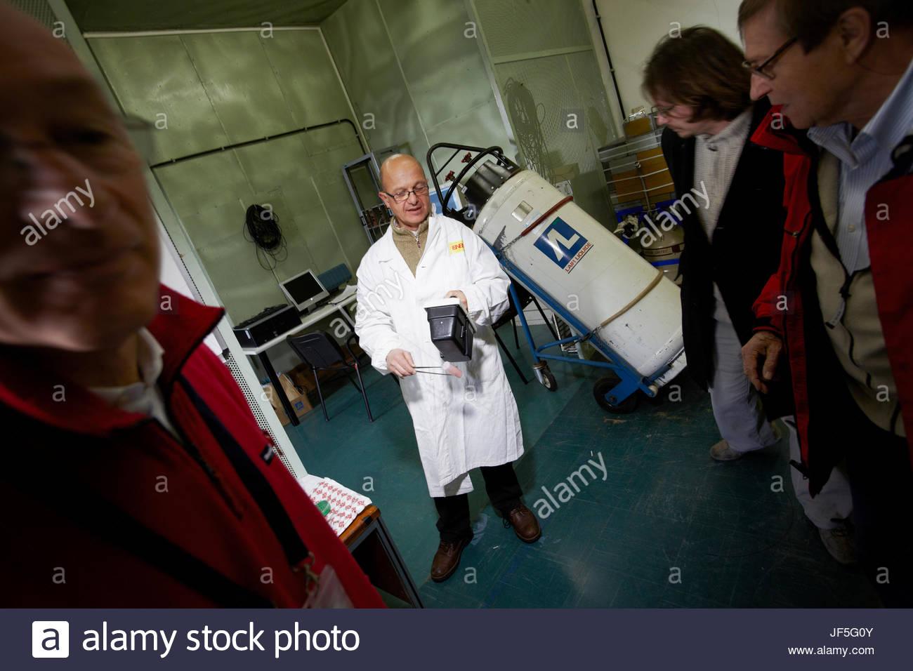 In the search for Leonardo Da Vinci's Battle of Anghiari, physicist Mario Pillon at the ENEA nuclear research center Stock Photo