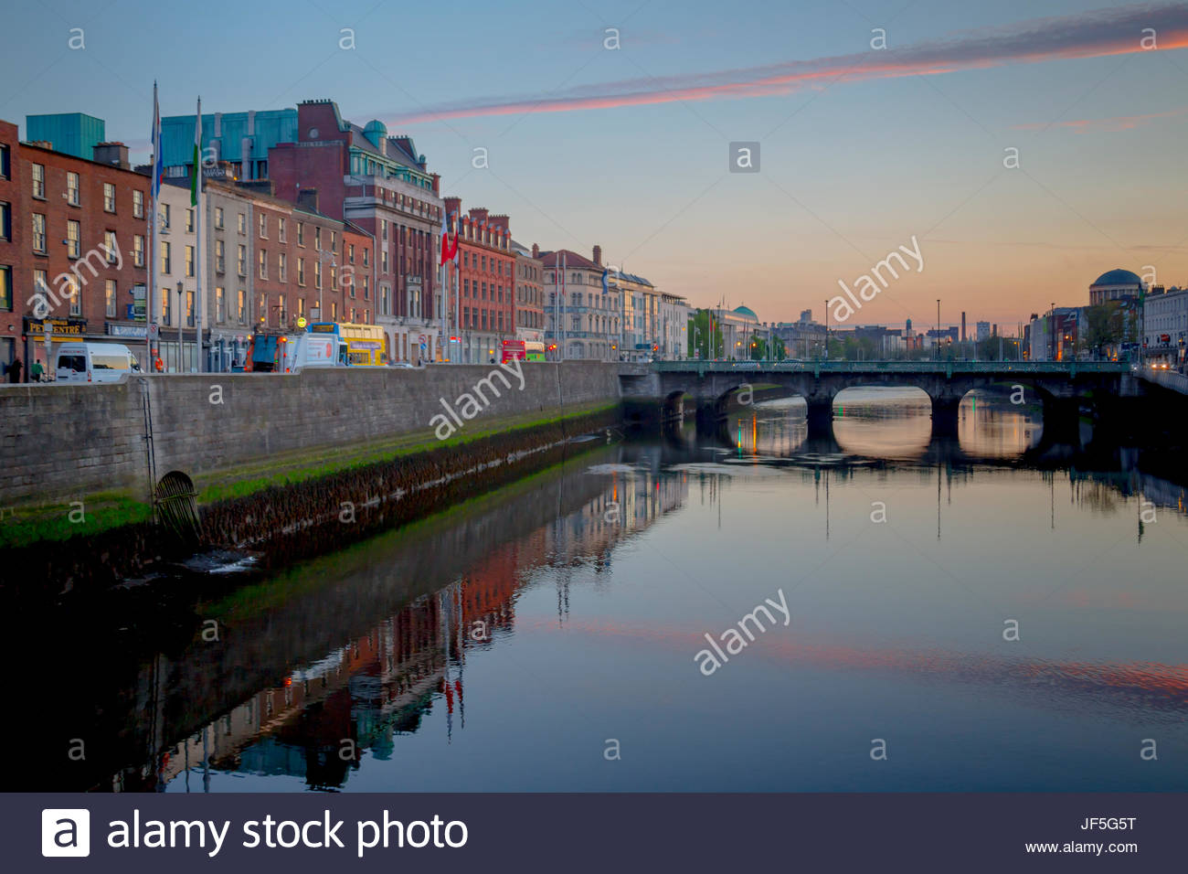 looking west along Liffey River in downtown Stock Photo