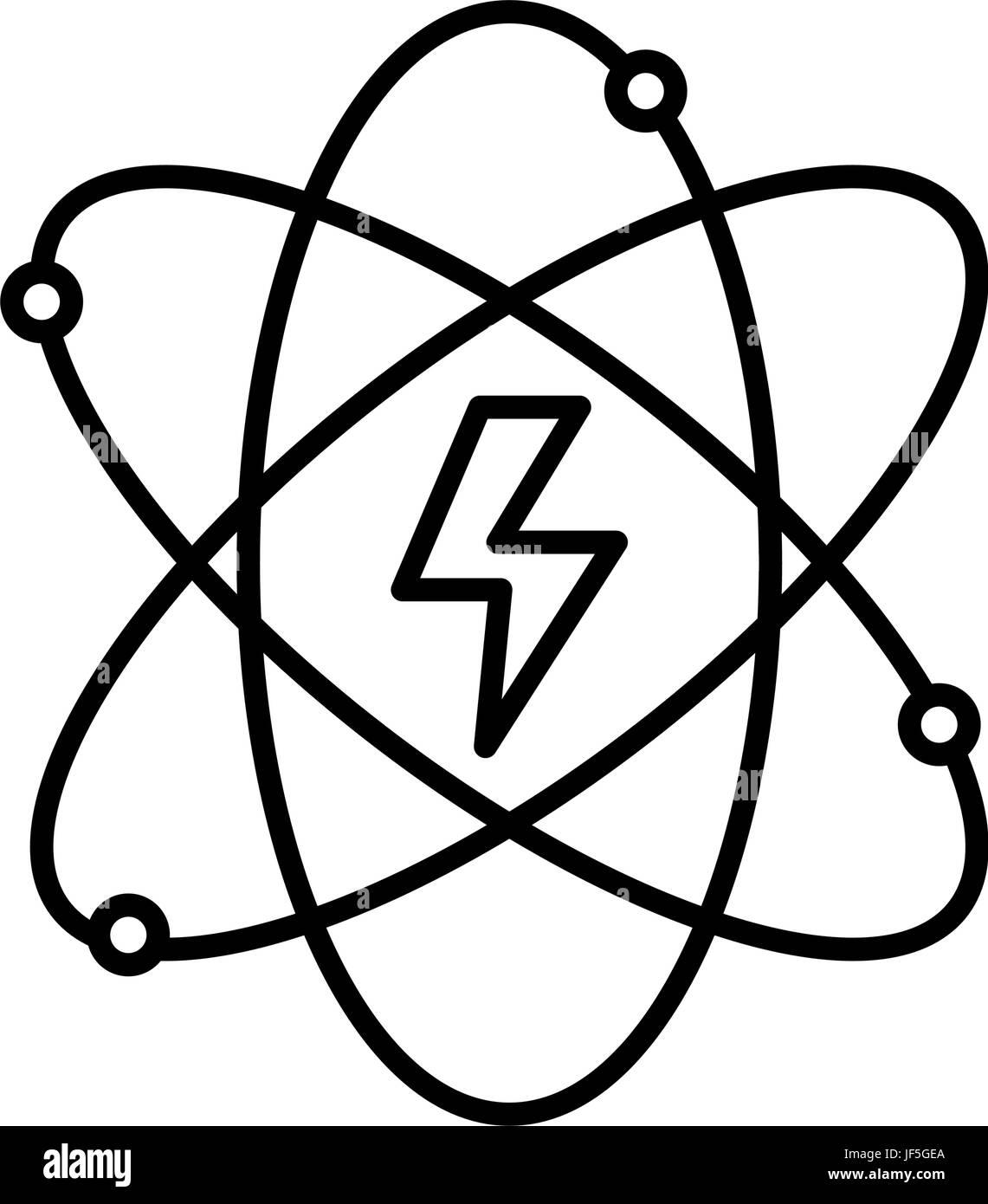 Line Energy Hazard Symbol Of Power Industry With Orbits Stock Vector