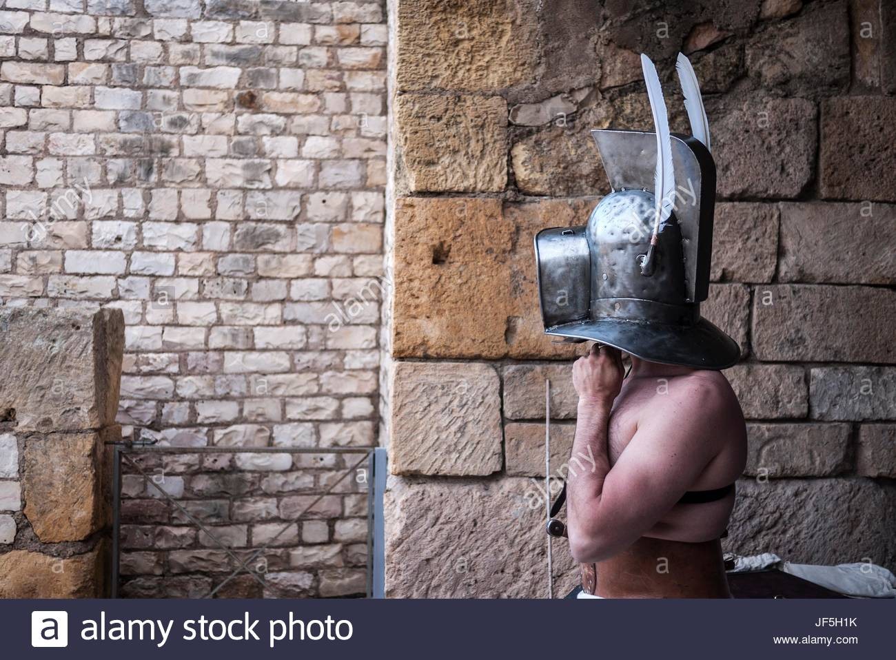 An actor getting dressed before going on stage. - Stock Image