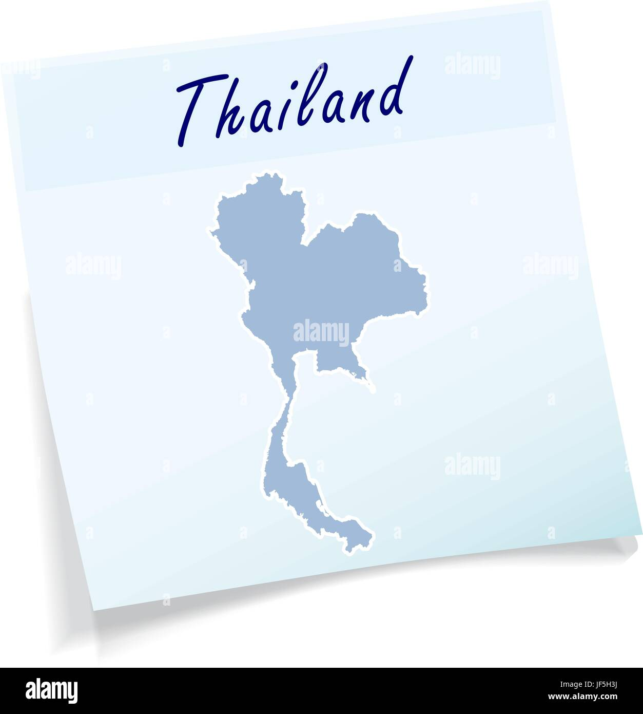 thailand as sticky note - Stock Vector