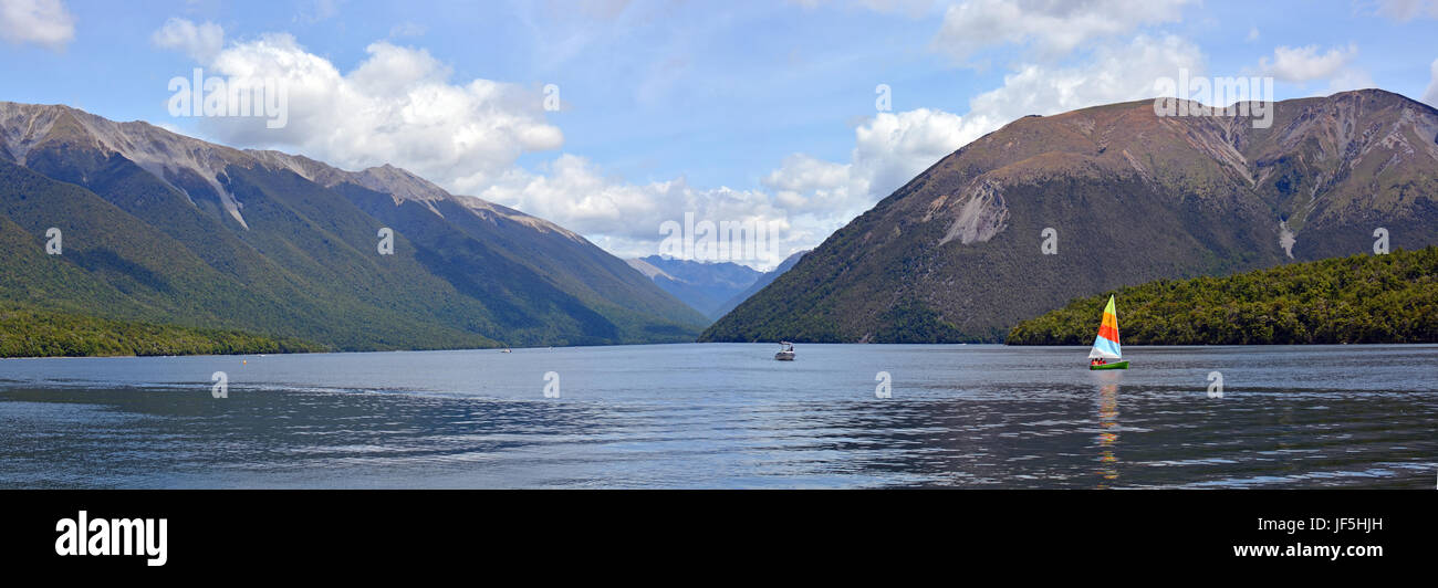 Lake Rotoiti in the Nelson Lakes District, New Zealand Panorama. Popular with tourists for swimming and baoting - Stock Image