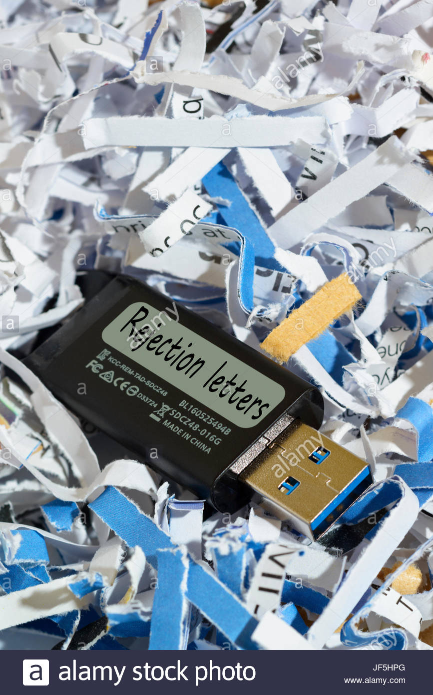Rejection letters, written on discarded usb flash drive, England, UK - Stock Image