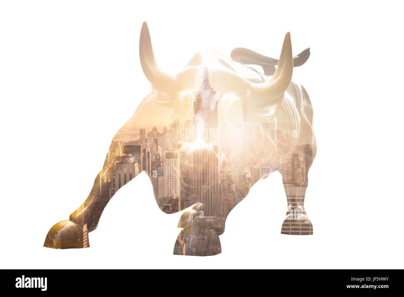 NEW YORK CITY - MAR 26: The landmark Charging Bull in Lower Manhattan represents aggressive financial optimism and - Stock Image