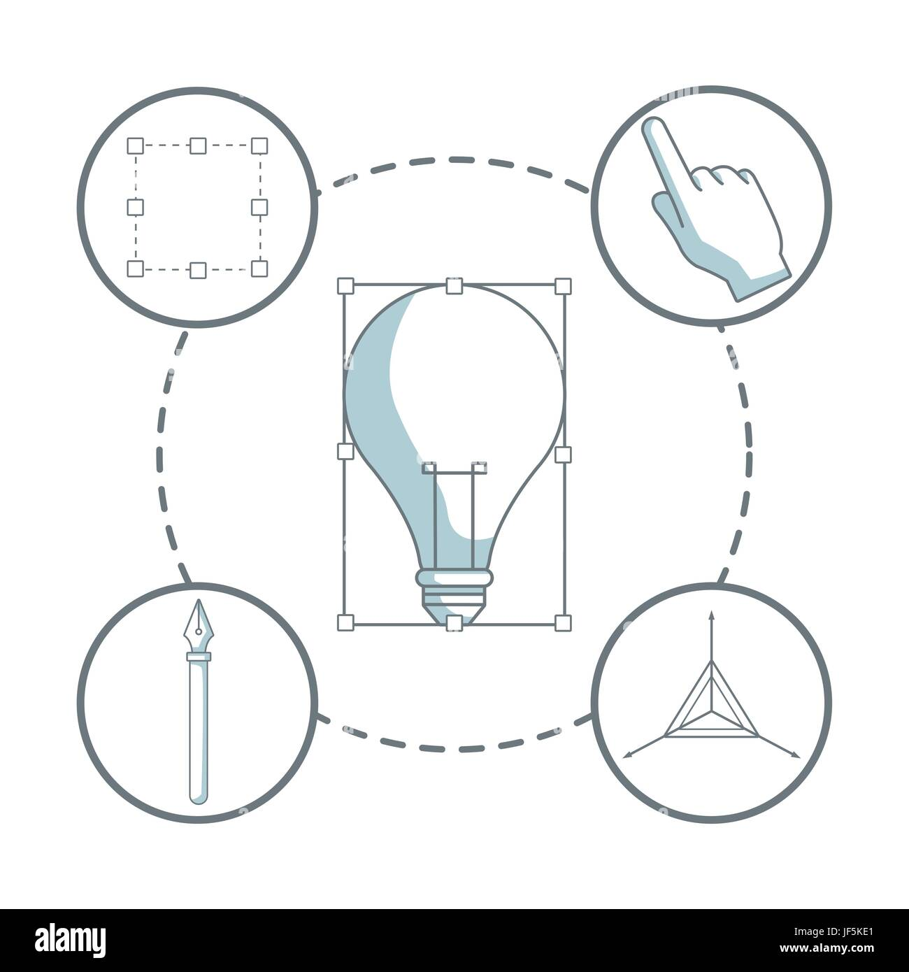 white background with silhouette color sections shading of light bulb transform with icons graphic design around - Stock Image