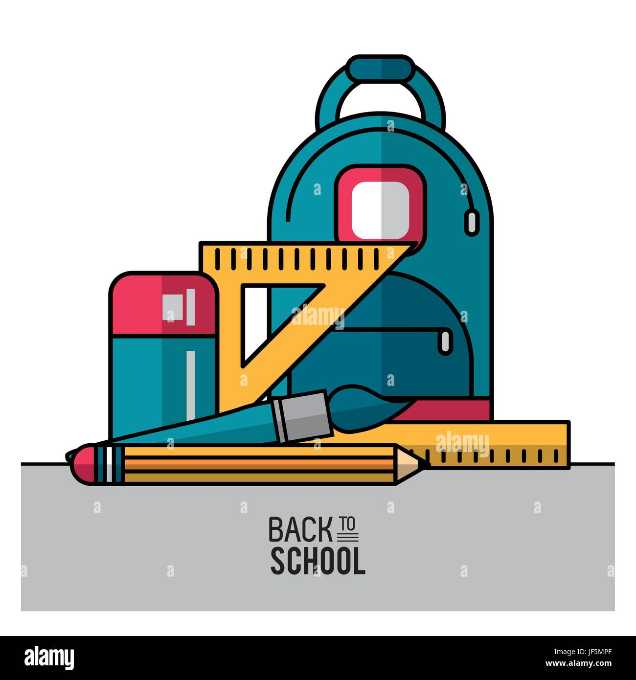 color poster of back to school with backpack and essential elements of school in closeup Stock Vector