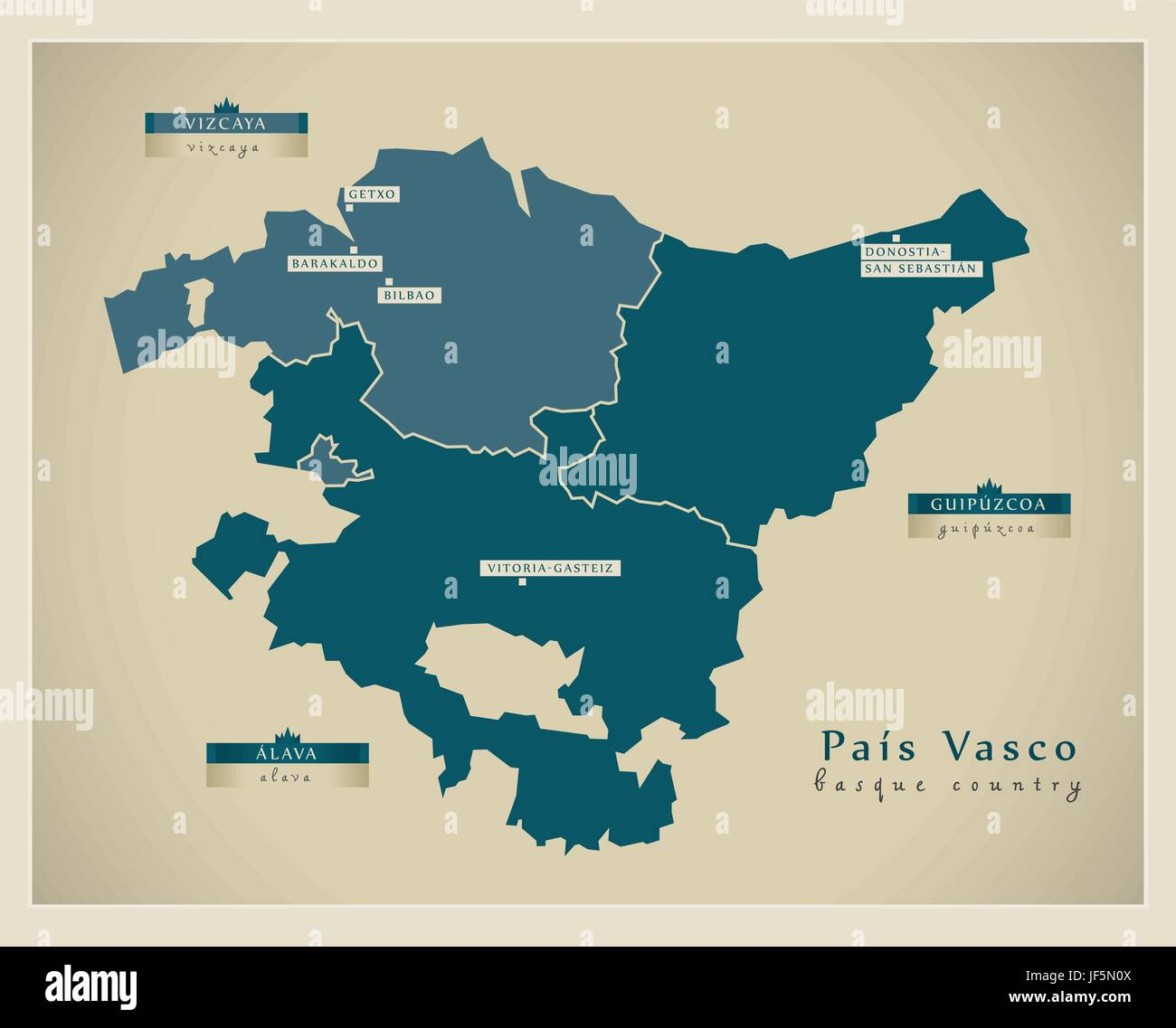 Map Of Spain By Province.Modern Modernity Europe Spain Region Province State Vector