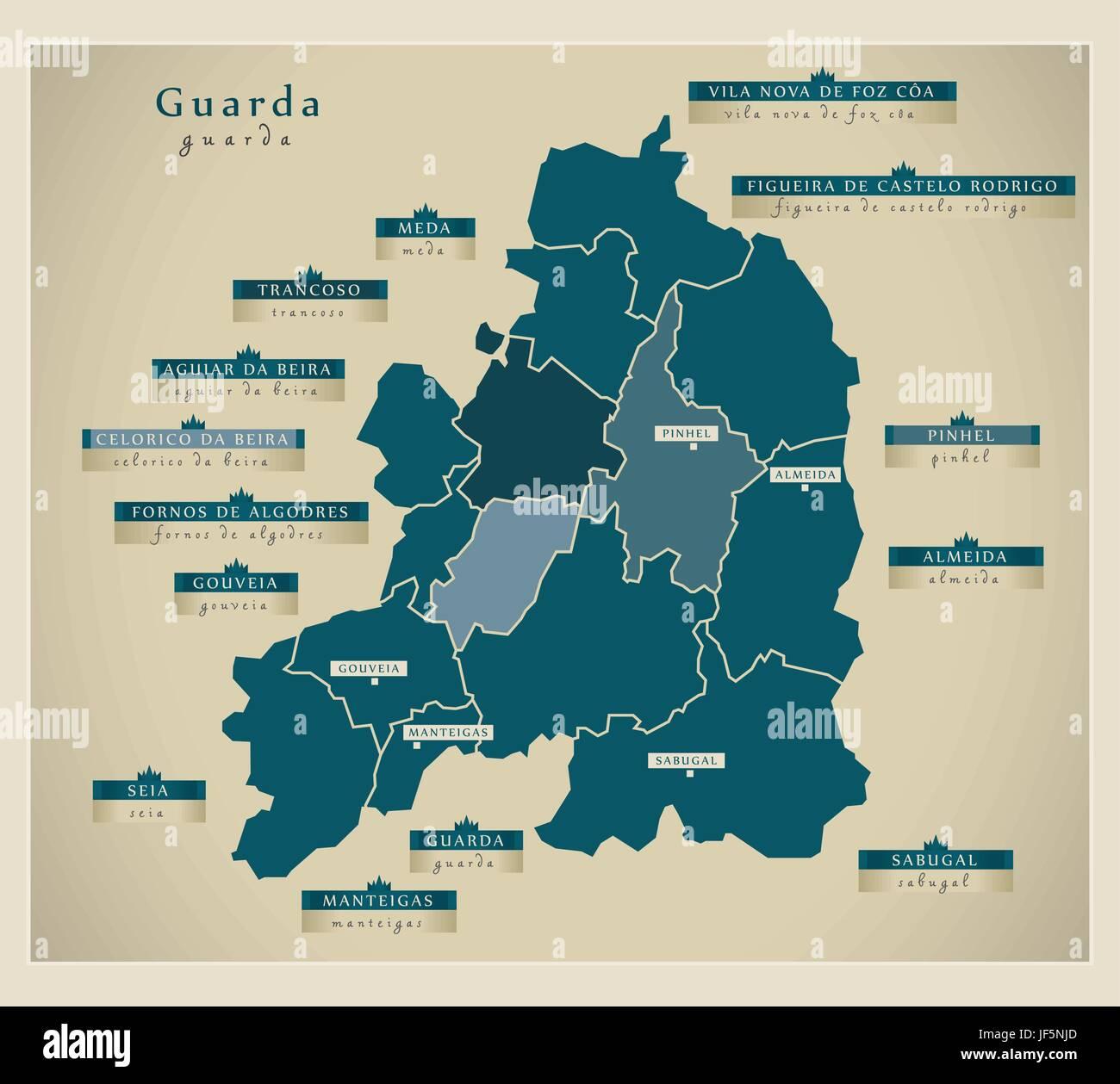 modern map - guarda pt - Stock Image