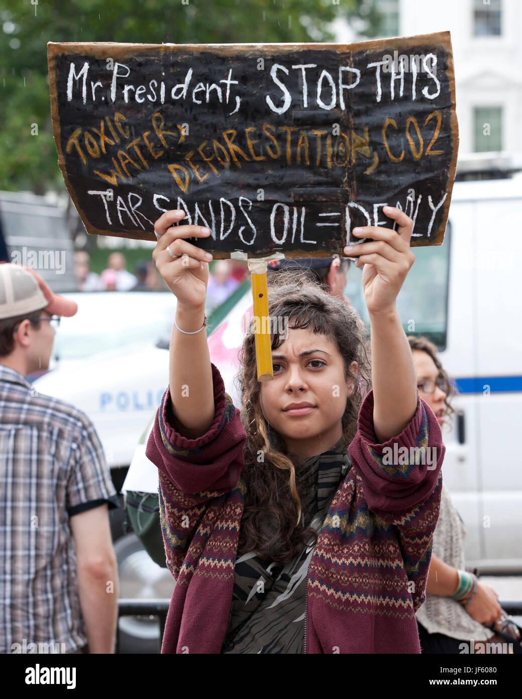 September 03, 2011:  Environmental activists protesting Keystone XL pipeline (tar sands, environmental protest) Stock Photo