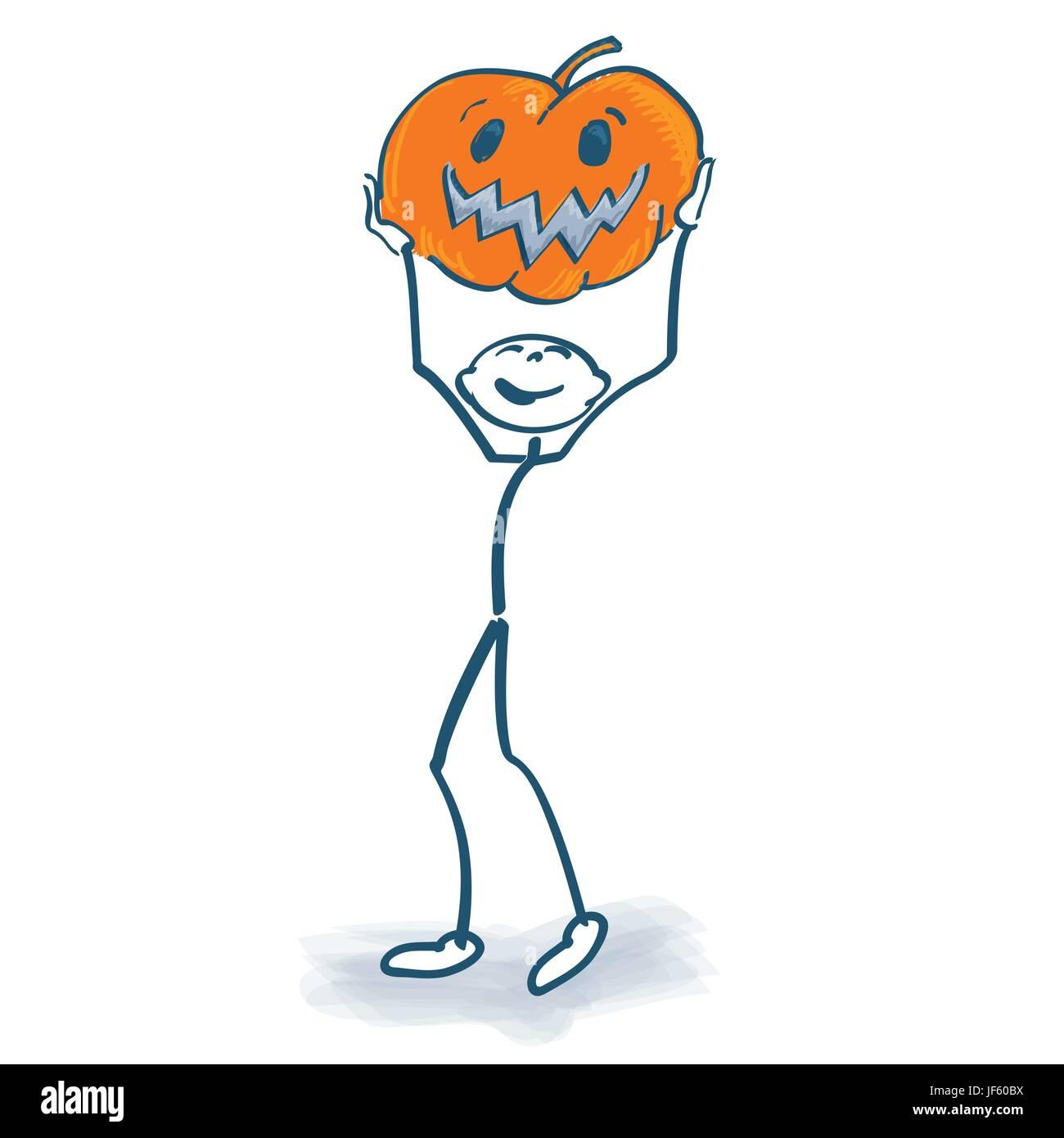 stick figure with pumpkin Stock Vector
