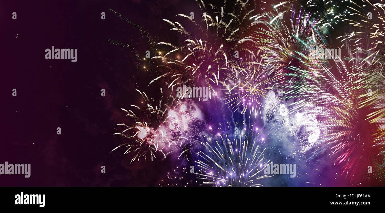 greeting card design fireworks - Stock Image