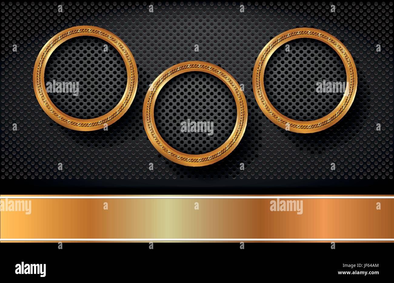 ring, circle, banner, metallic, dark, shaddow, shadow, gold, ring, circle, - Stock Vector
