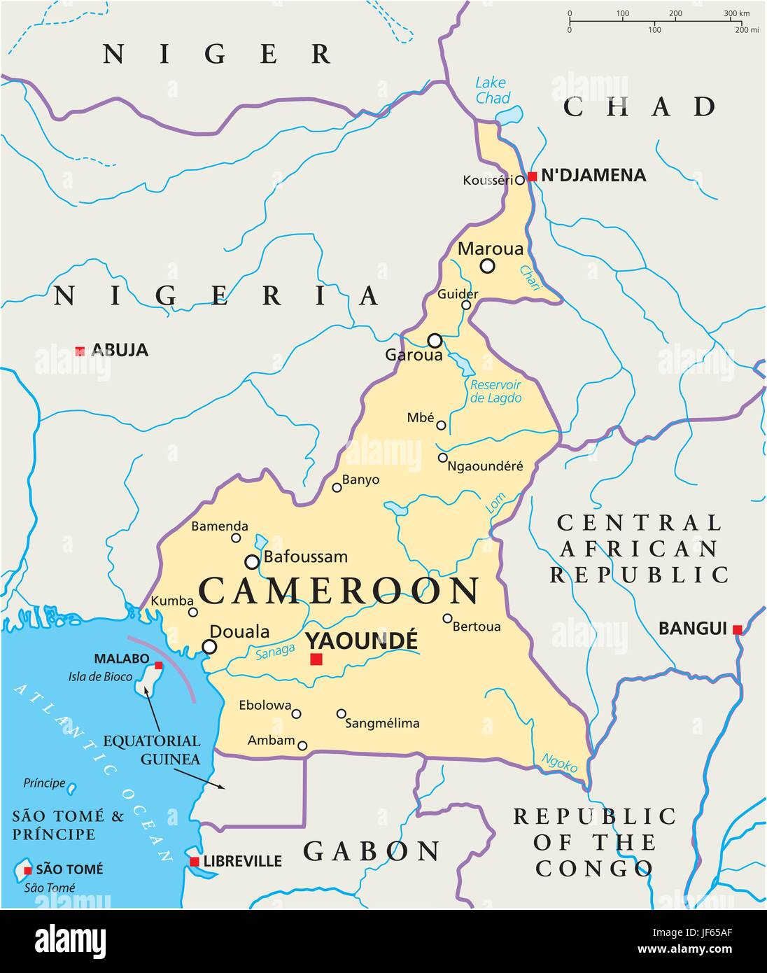 africa, central, cameroon, map, atlas, map of the world, travel