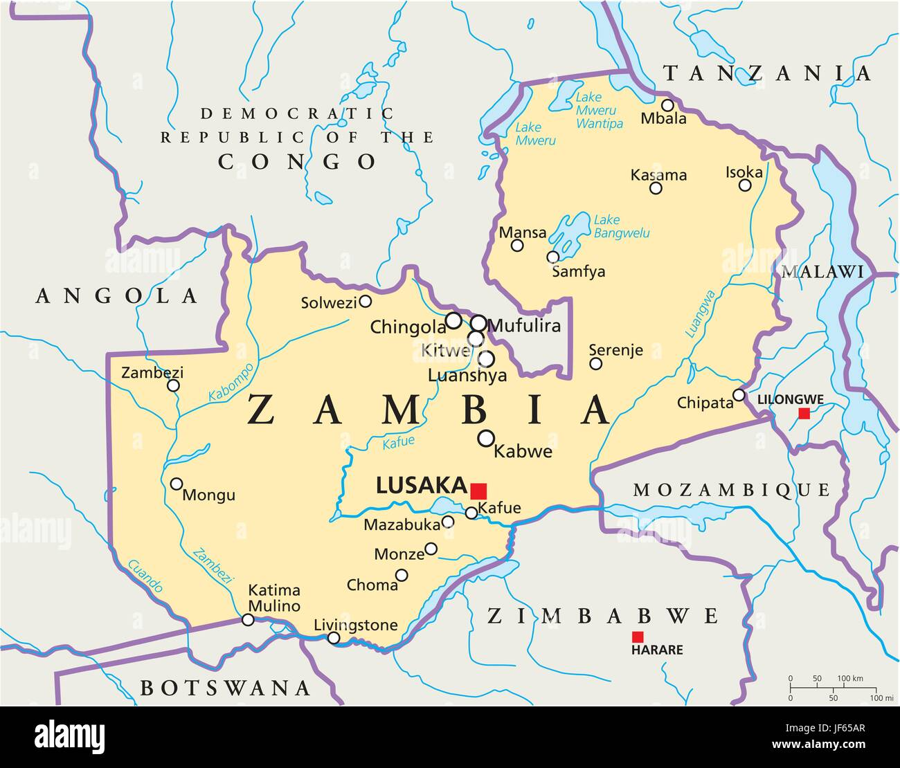 Zambia, Map, Atlas, Map Of The World, Political, Africa, Country, Republic,