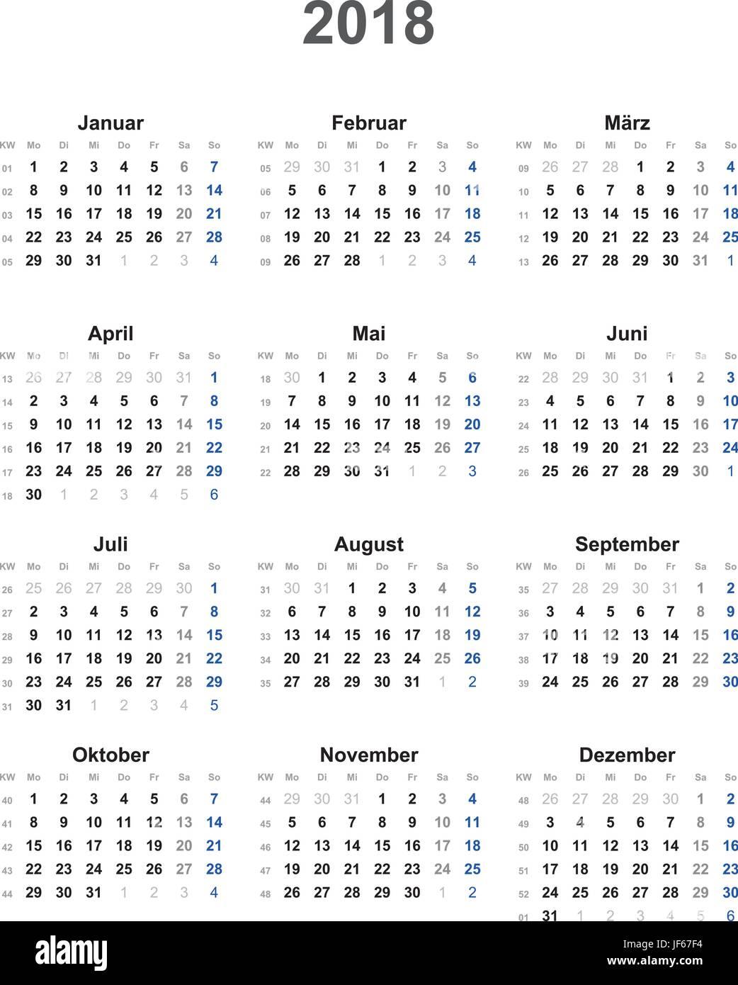 calendar 2018 universal - excluding holidays Stock Vector Art ...