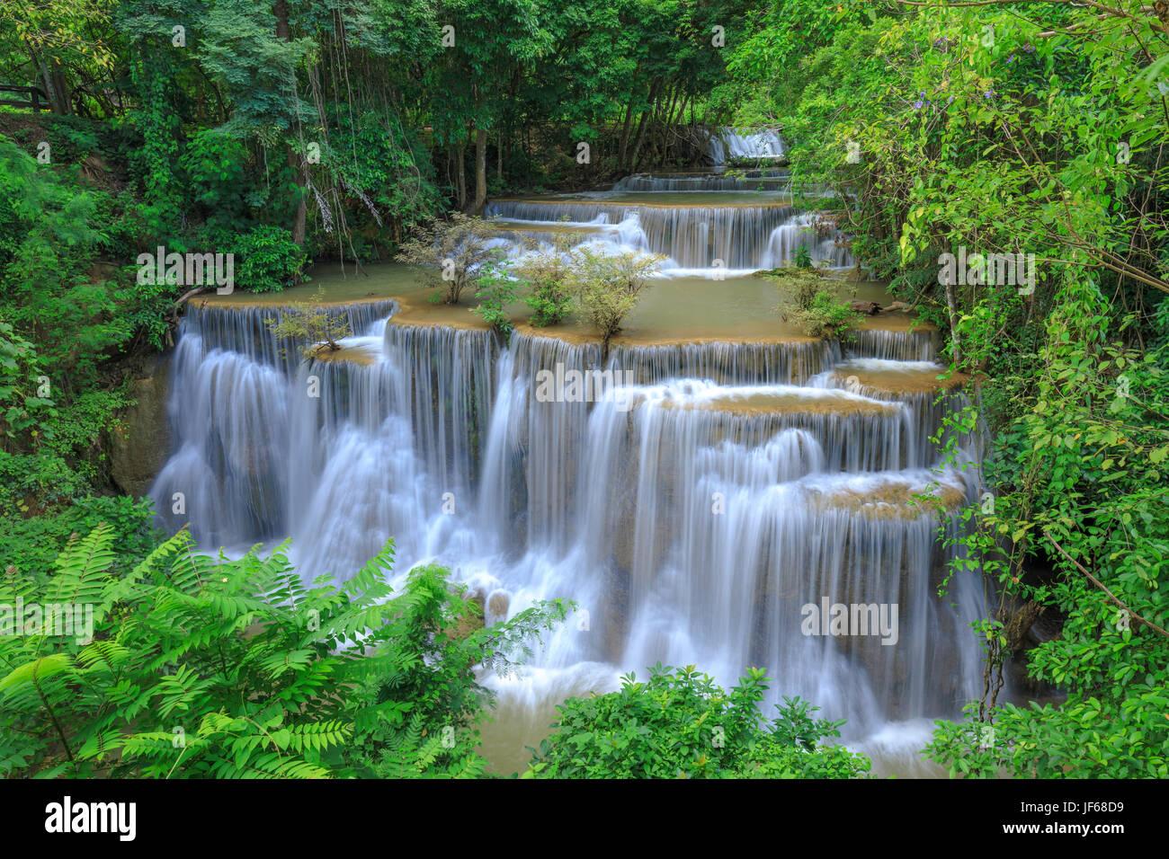 Deep forest Waterfall in Kanchanaburi province, Thailand - Stock Image