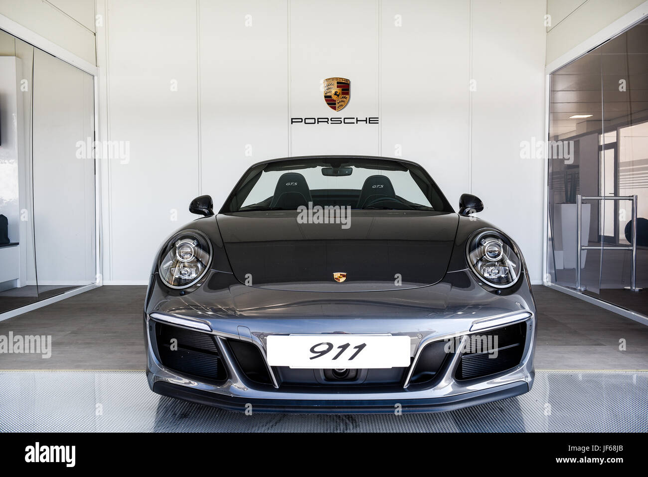 Black Metal Porsche 911 Car Front View Logo And Brand Name In Stock