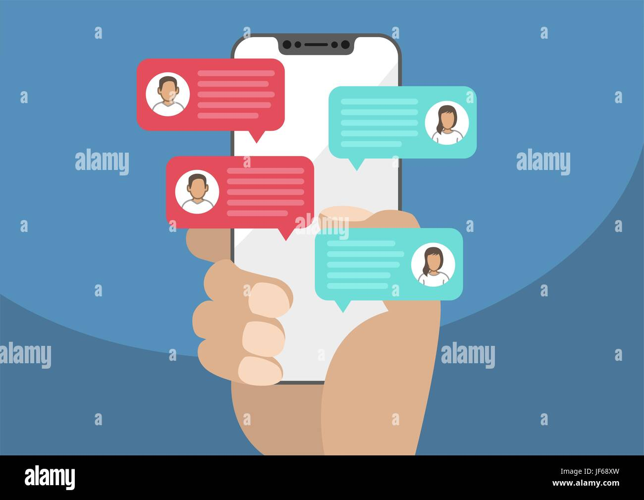Hand holding modern bezel free / frameless smartphone with chat message notifications. Illustration of chatting Stock Vector