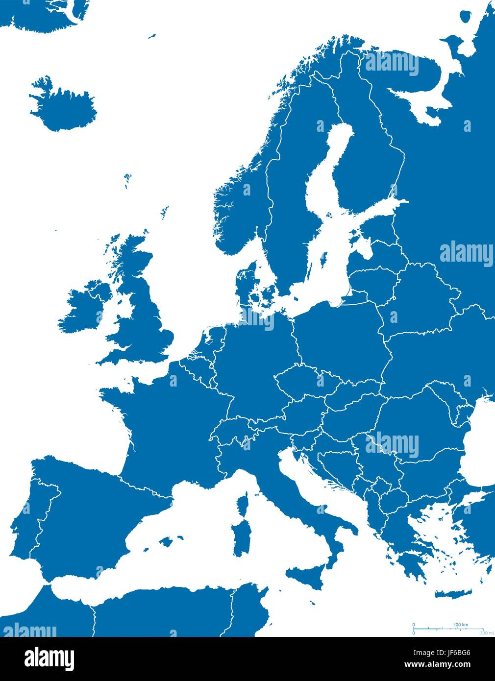 blue, isolated, europe, silhouette, outline, European Union, map, atlas, map of - Stock Image