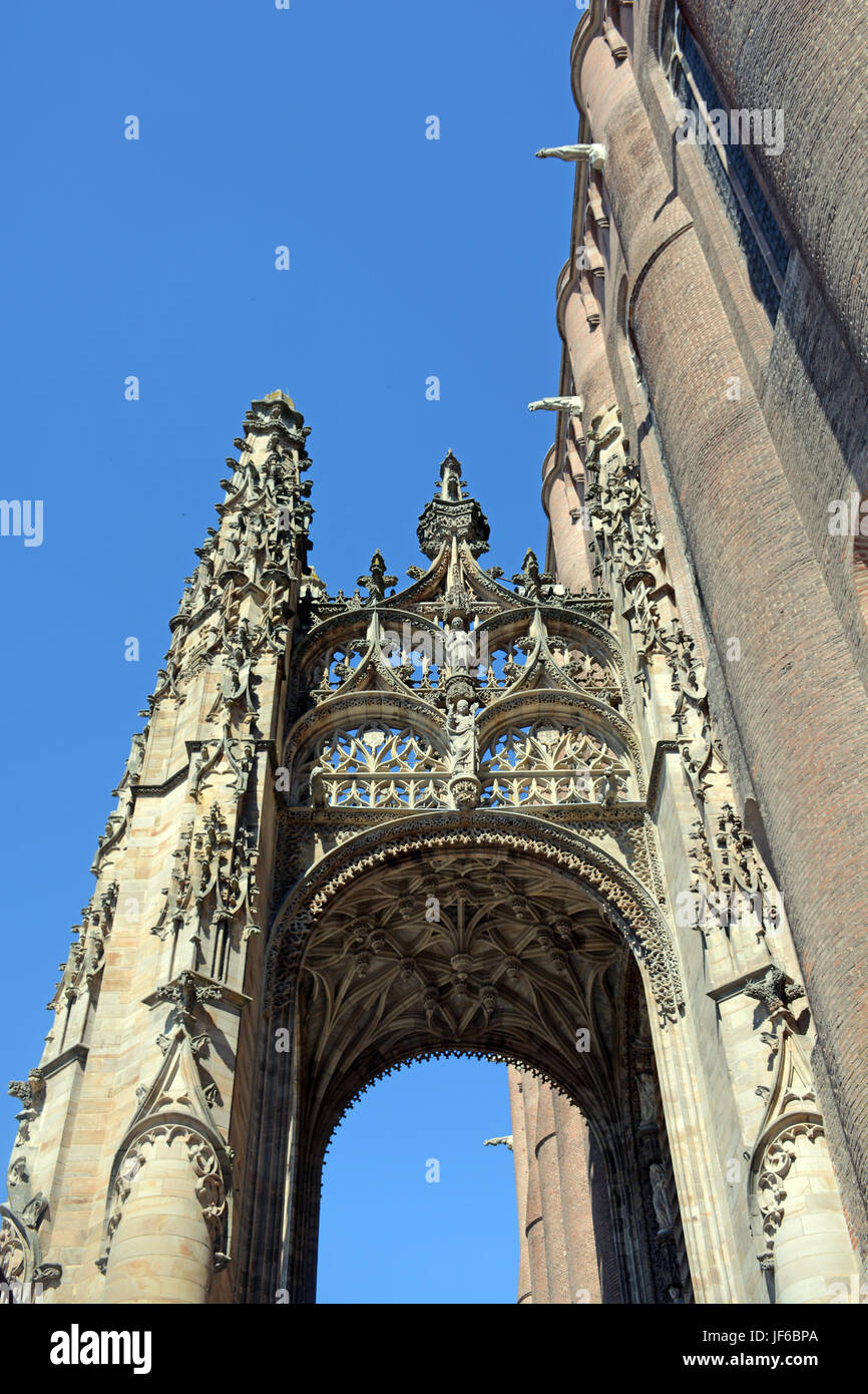 entry of Sainte-Cecile cathedral, Albi, Tarn, Occitanie, France - Stock Image