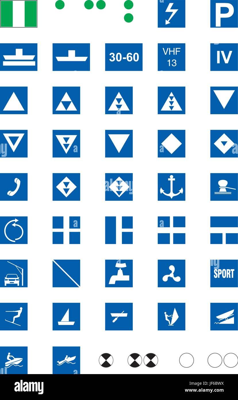 sign, signal, informative, course, bed, navigation, harbor, depth, depths, - Stock Vector