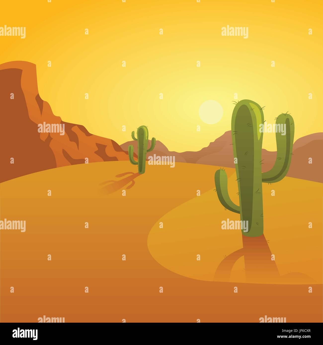 comic desert wasteland sunset cactus wild west cartoon stock