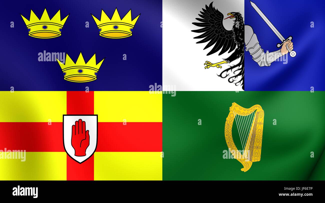 Four Provinces of Ireland 3D Flag - Stock Image