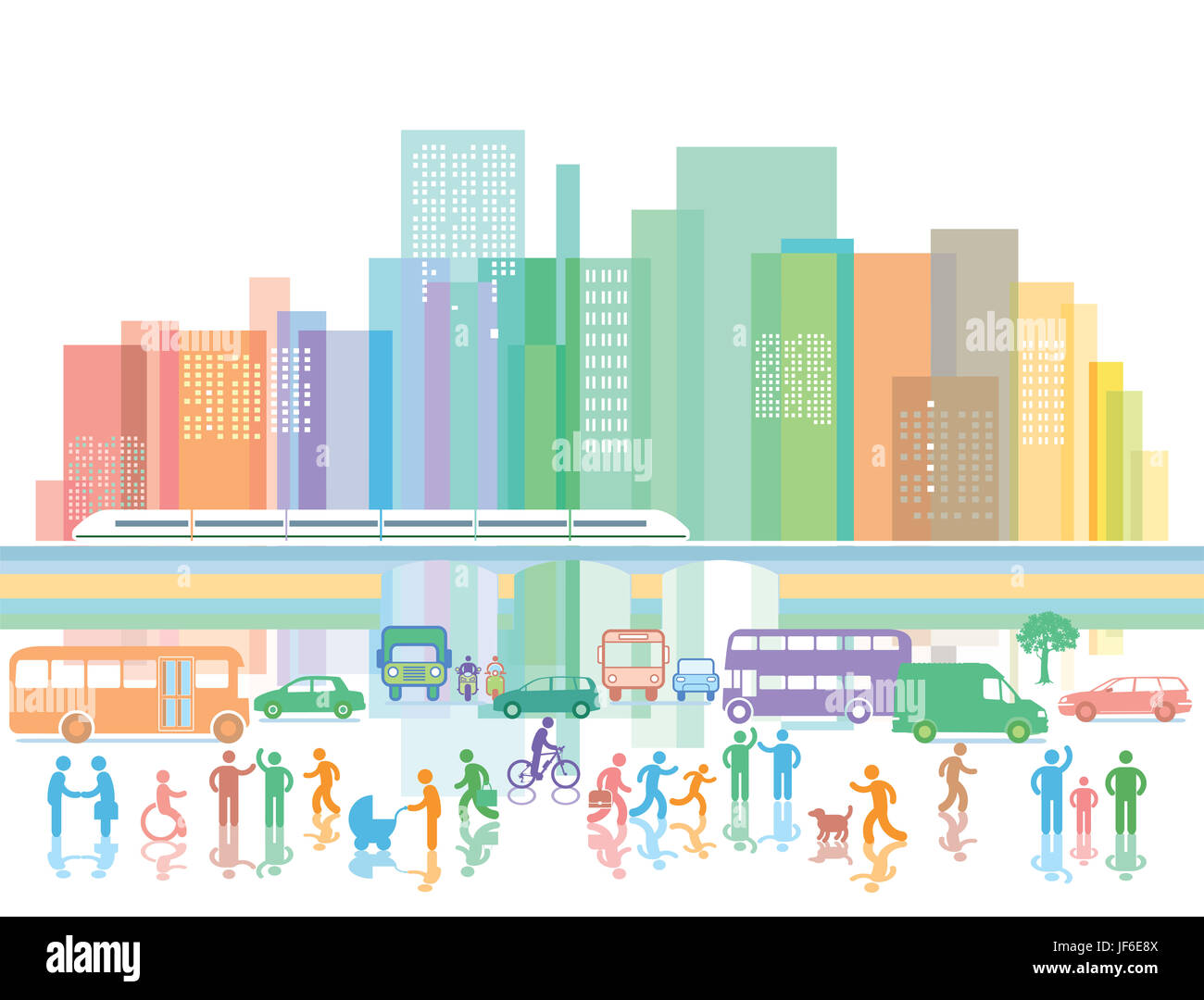 Large city with people and road traffic - Stock Image