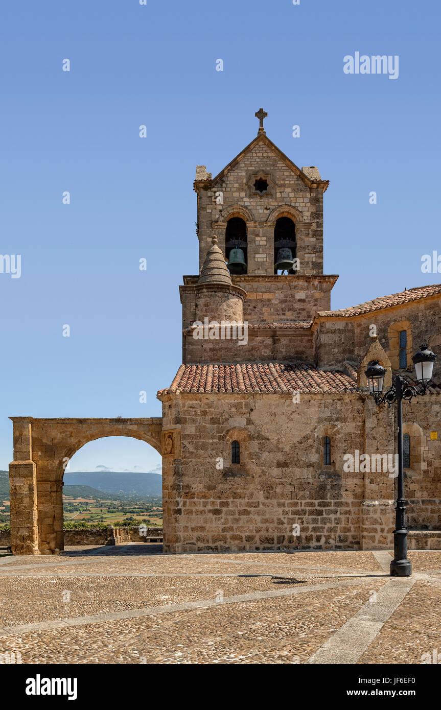 Church of San Vicente medieval village Frias, Burgos, Castile and Leon, Spain, Europe. - Stock Image