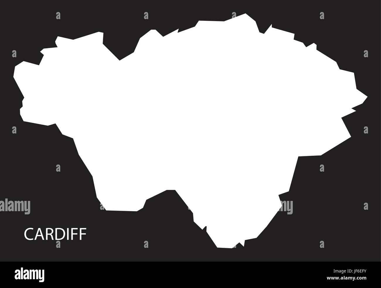 Cardiff Wales map black inverted silhouette illustration Stock ... on