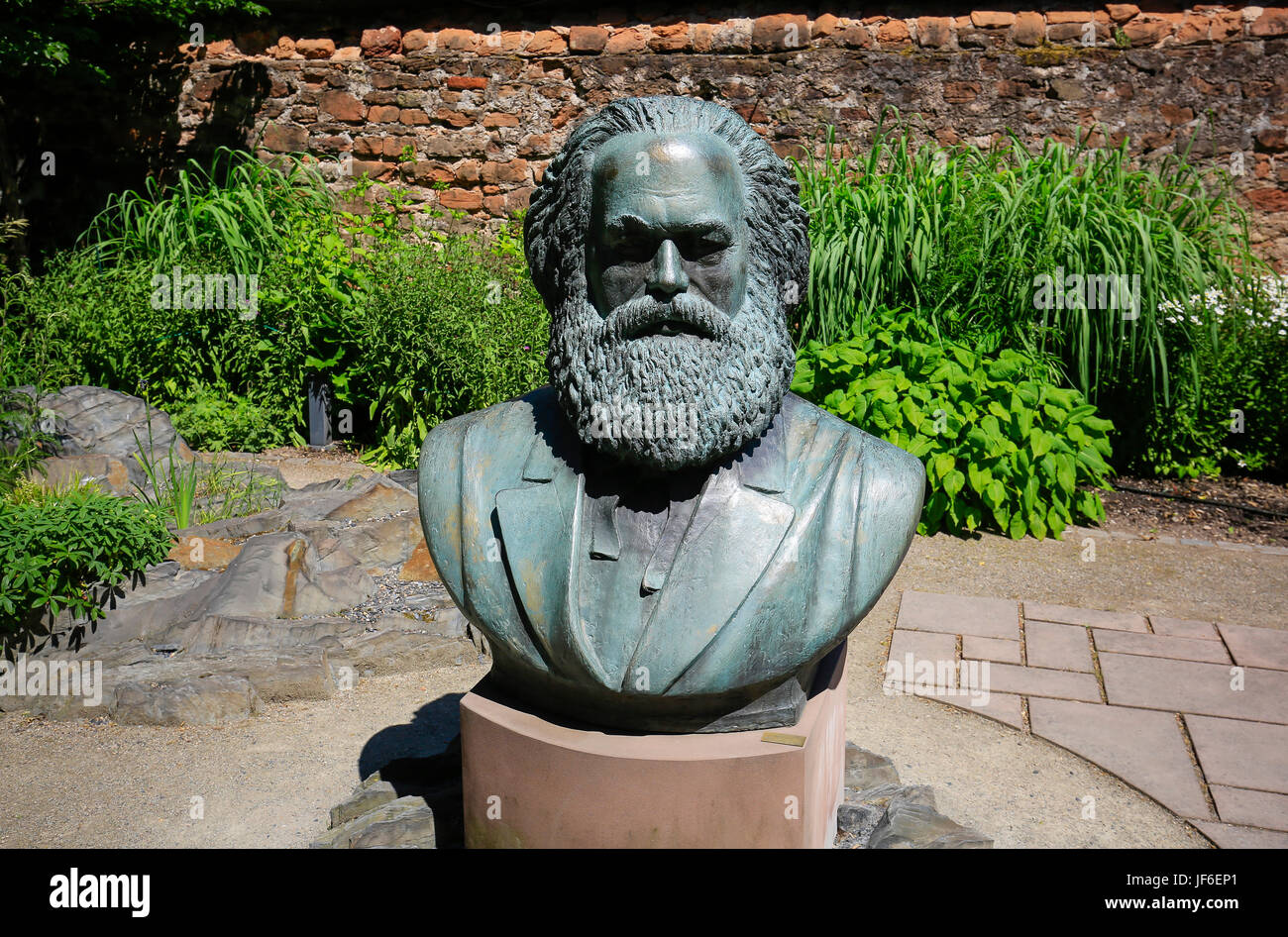 Bust of Karl Marx in the garden of the Karl-Marx-Haus, the birthplace of Karl Marx, Trier, Rhineland-Palatinate, - Stock Image