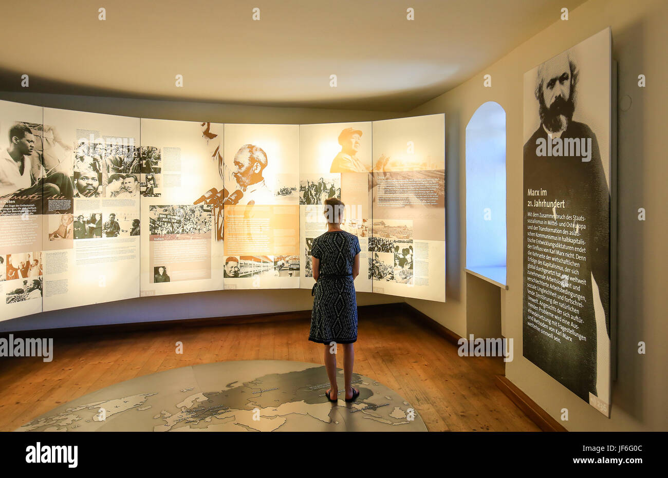 Exhibition room in the Karl-Marx-Haus, birthplace of Karl Marx, Trier, Rhineland-Palatinate, Germany, Europe, Ausstellungsraum - Stock Image