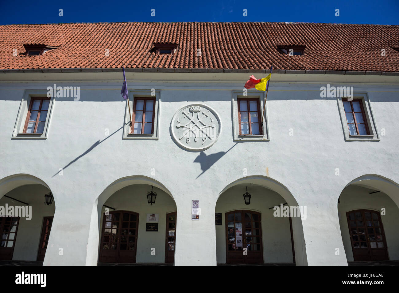 Emil Sigerus Museum of Saxon Ethnography & Folk Art in so called Butcher's Hall building on a Small Square, - Stock Image