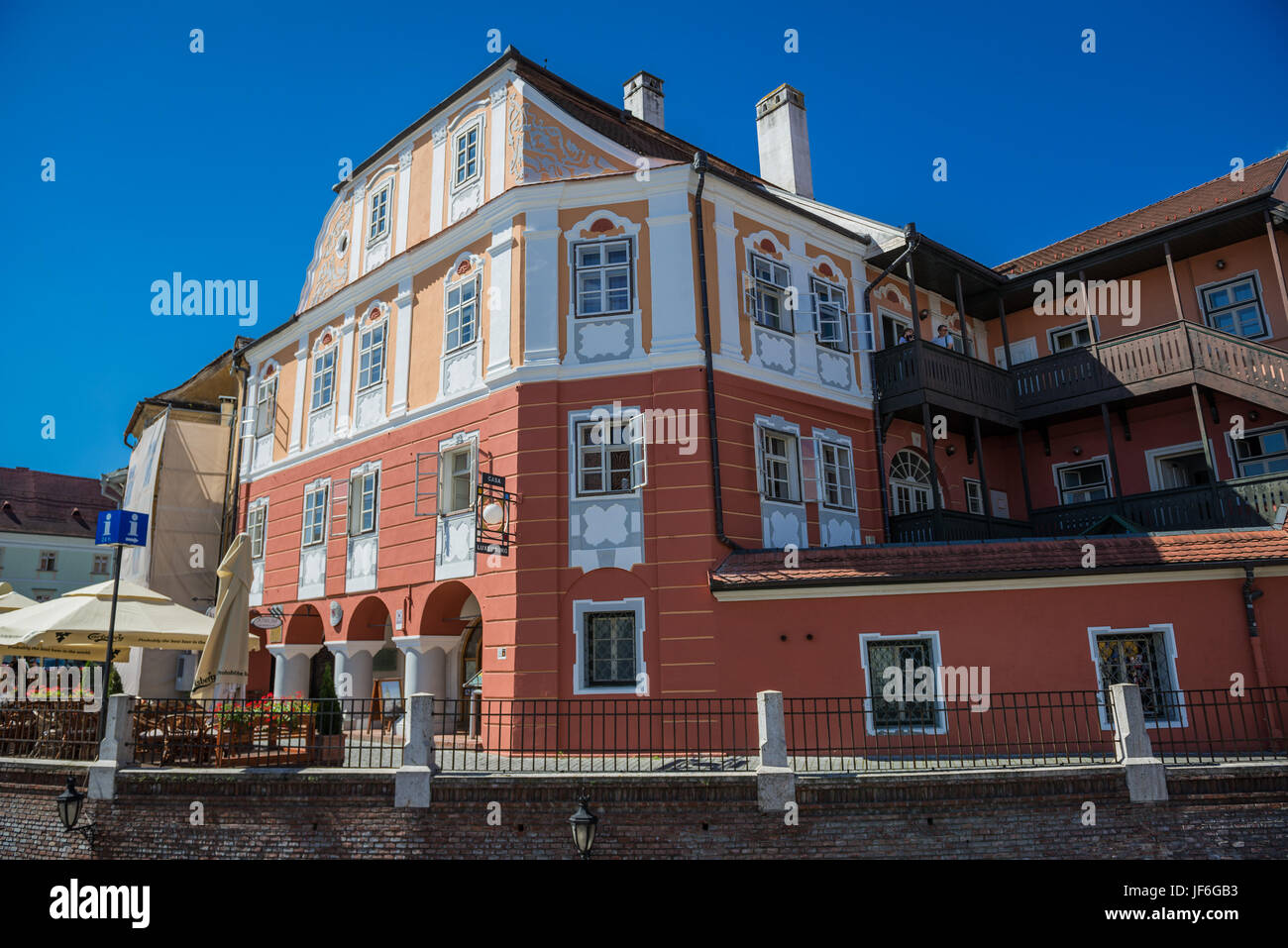 Casa Luxemburg hotel in historical building on a Small Square, Historic Center of Sibiu city of Transylvania region, - Stock Image