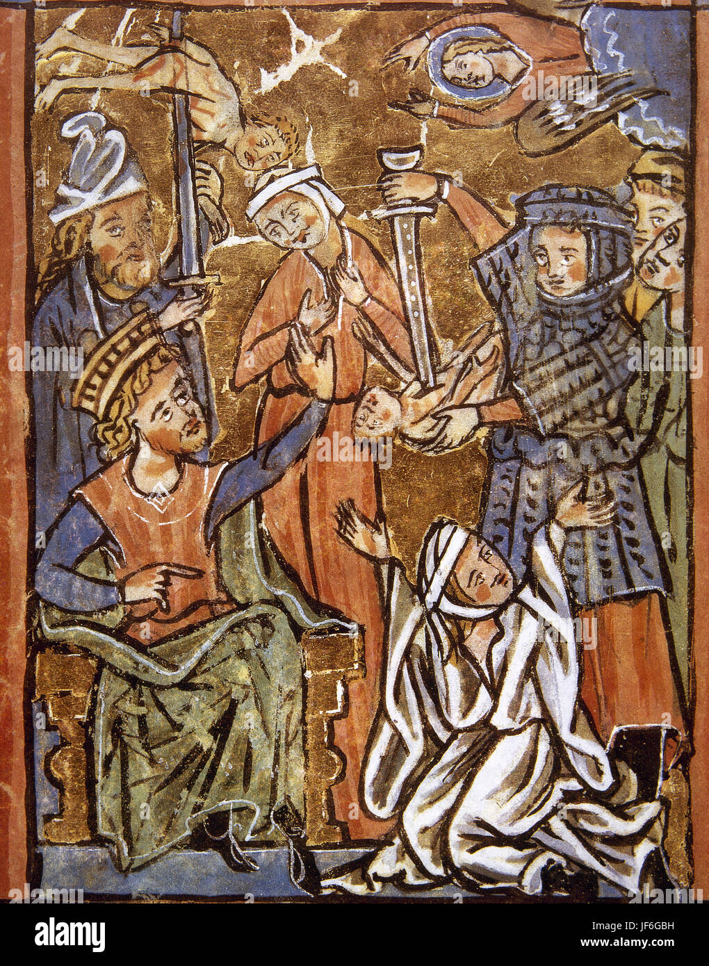 Massacre if the Innocents. Herod the Great sitiing in the throne. Miniature. Psalter, 15th century. - Stock Image
