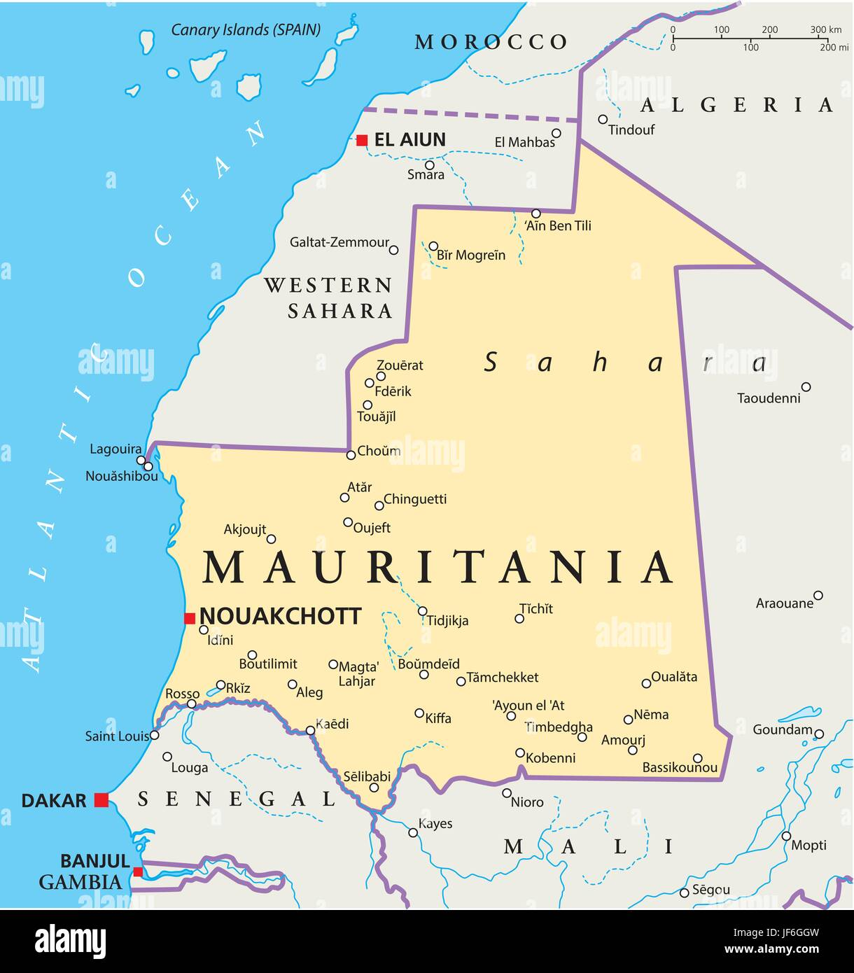 mauritania, map, atlas, map of the world, travel, political