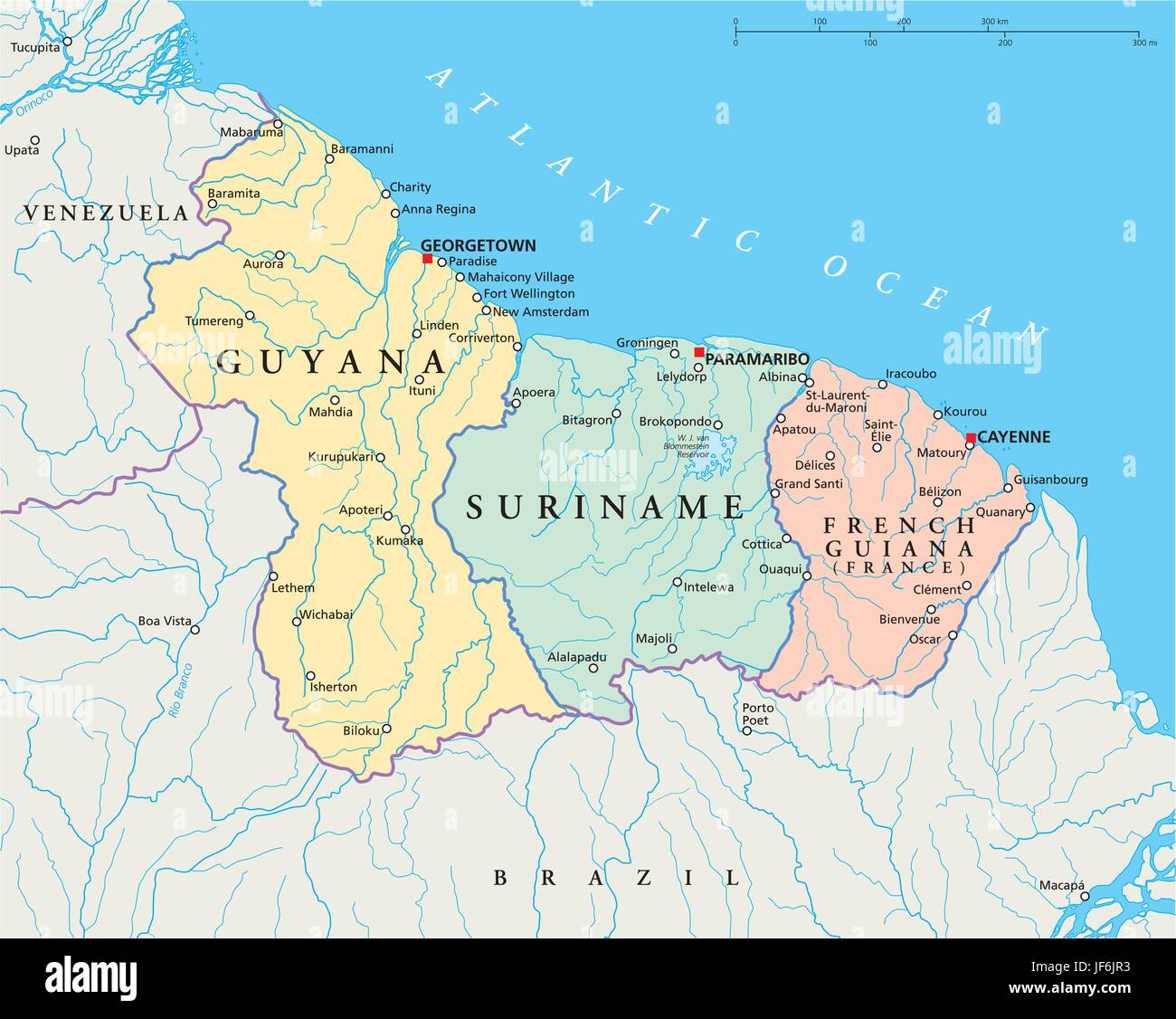 south america, suriname, guyana, map, atlas, map of the world Stock ...