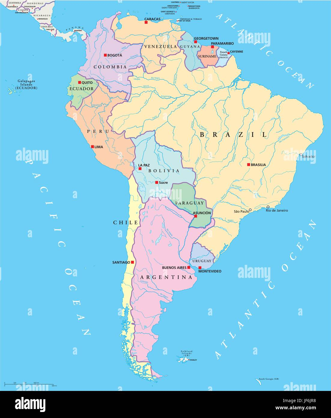 Political America South America Continent States Map Atlas