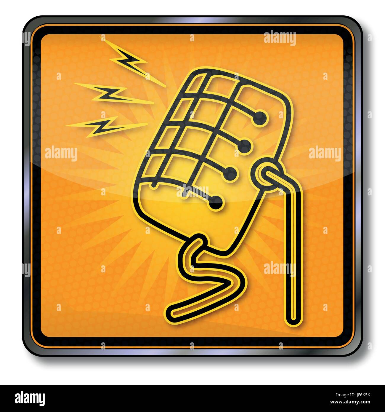 shield with old microphone - Stock Image