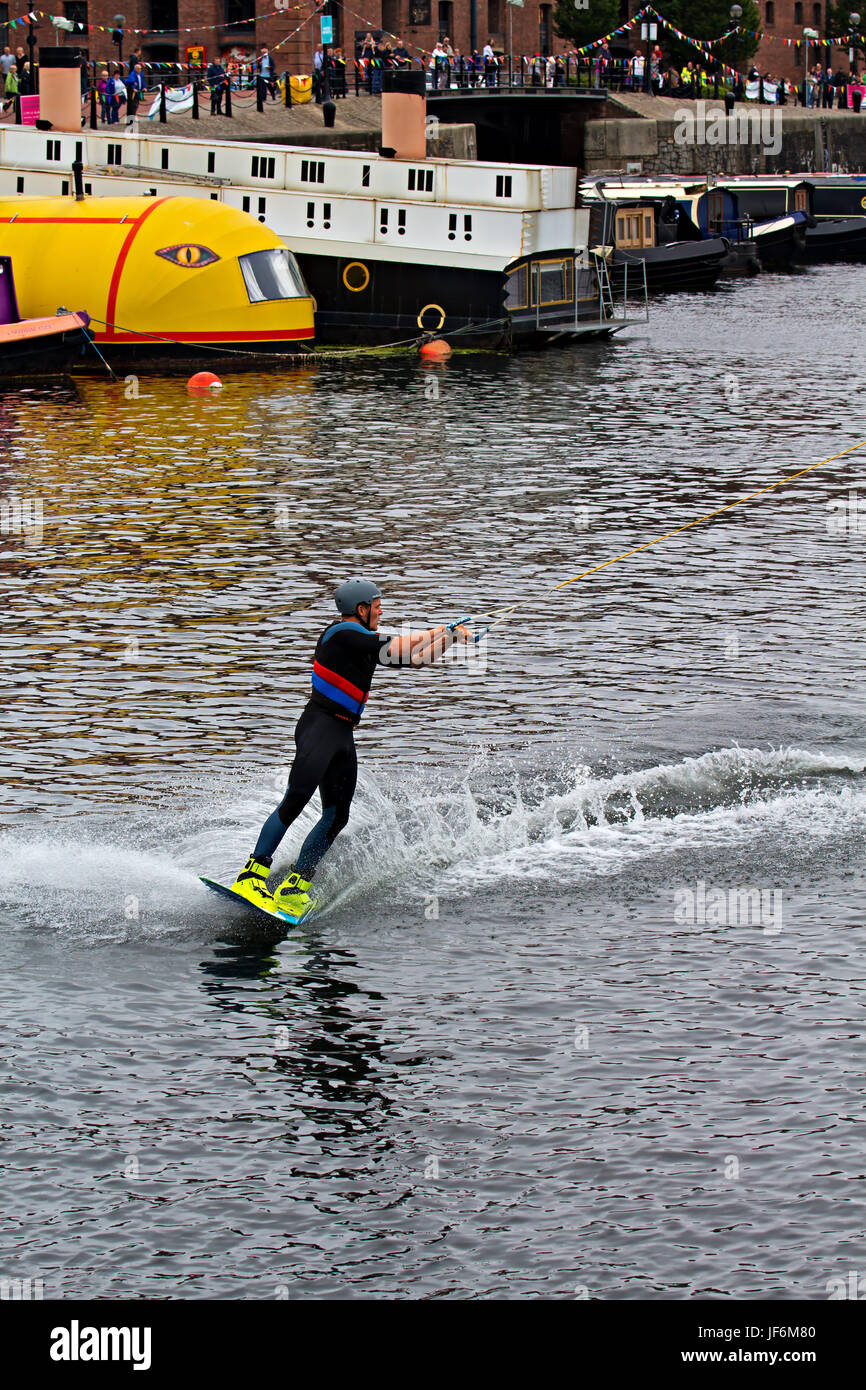 Liverpool, UK. 25th June, 2017. Wakeboarding competition at the Mersey River Festival on Salthouse Dock Liverpool - Stock Image