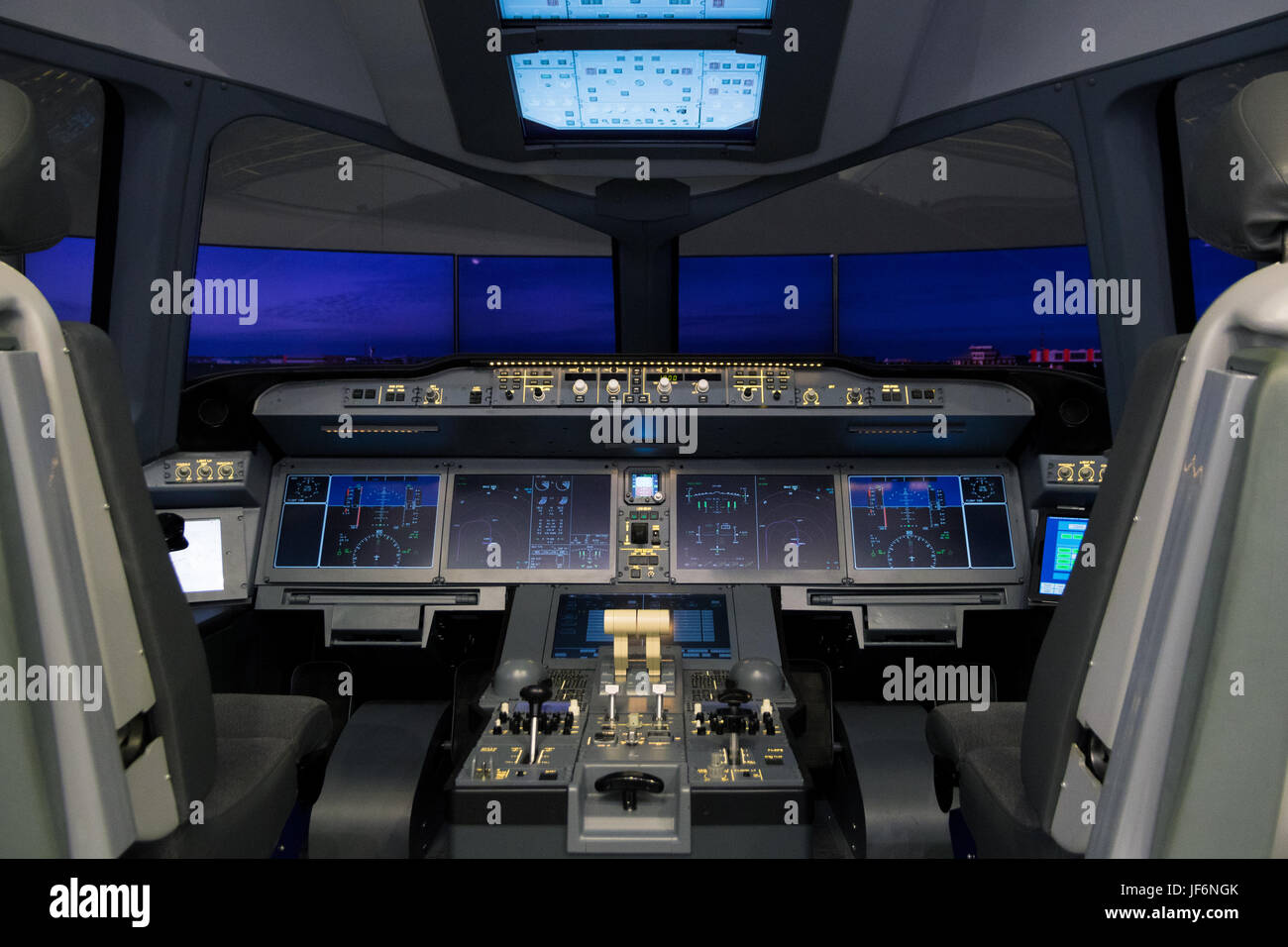 PARIS, FRANCE - JUN 23, 2017: Irkut MC-21 airliner flight simulator at the Paris Air Show 2017 Stock Photo