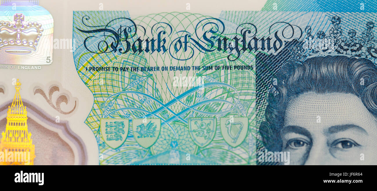 New Polymer Five Pound Note  - 2017 - Stock Image