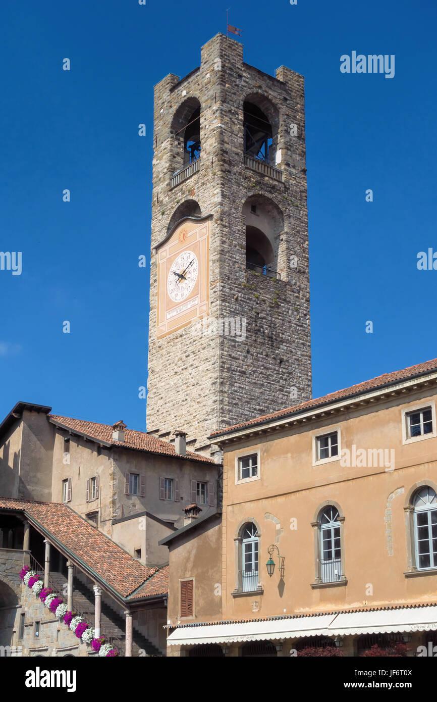 BERGAMO, LOMBARDY/ITALY - JUNE 26 : Civic Tower (Campanone - Big Bell) and Palazzo Del Podestaore in Bergamo on Stock Photo
