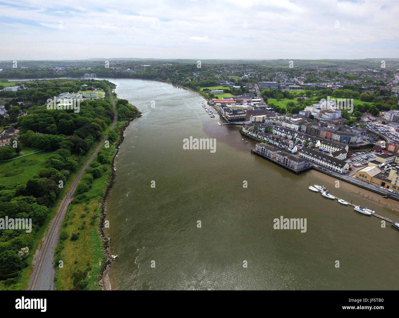 Aerial view of the river Suir and historic Waterford, Ireland. - Stock Image