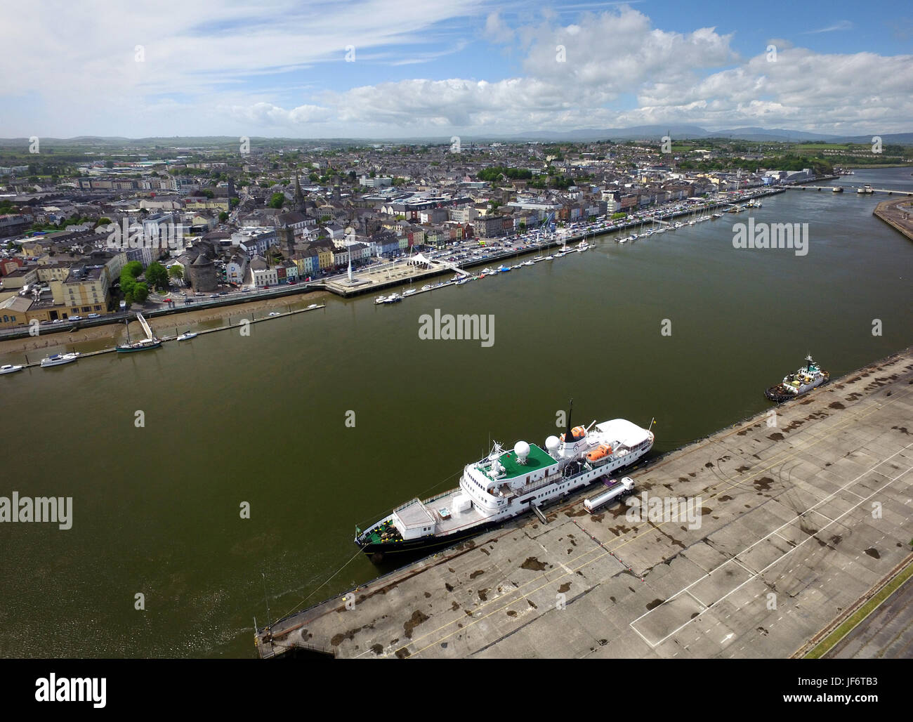 Cruse ship docked in Waterford, Munster, Ireland - Stock Image