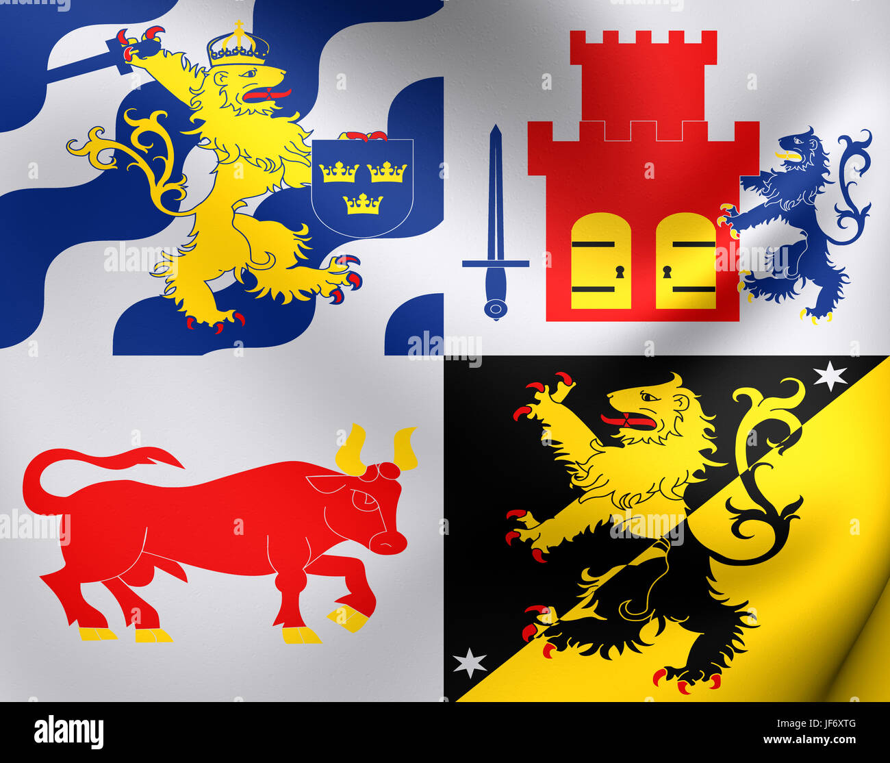 Flag Of Vastra Gotaland County Sweden Stock Photo Alamy