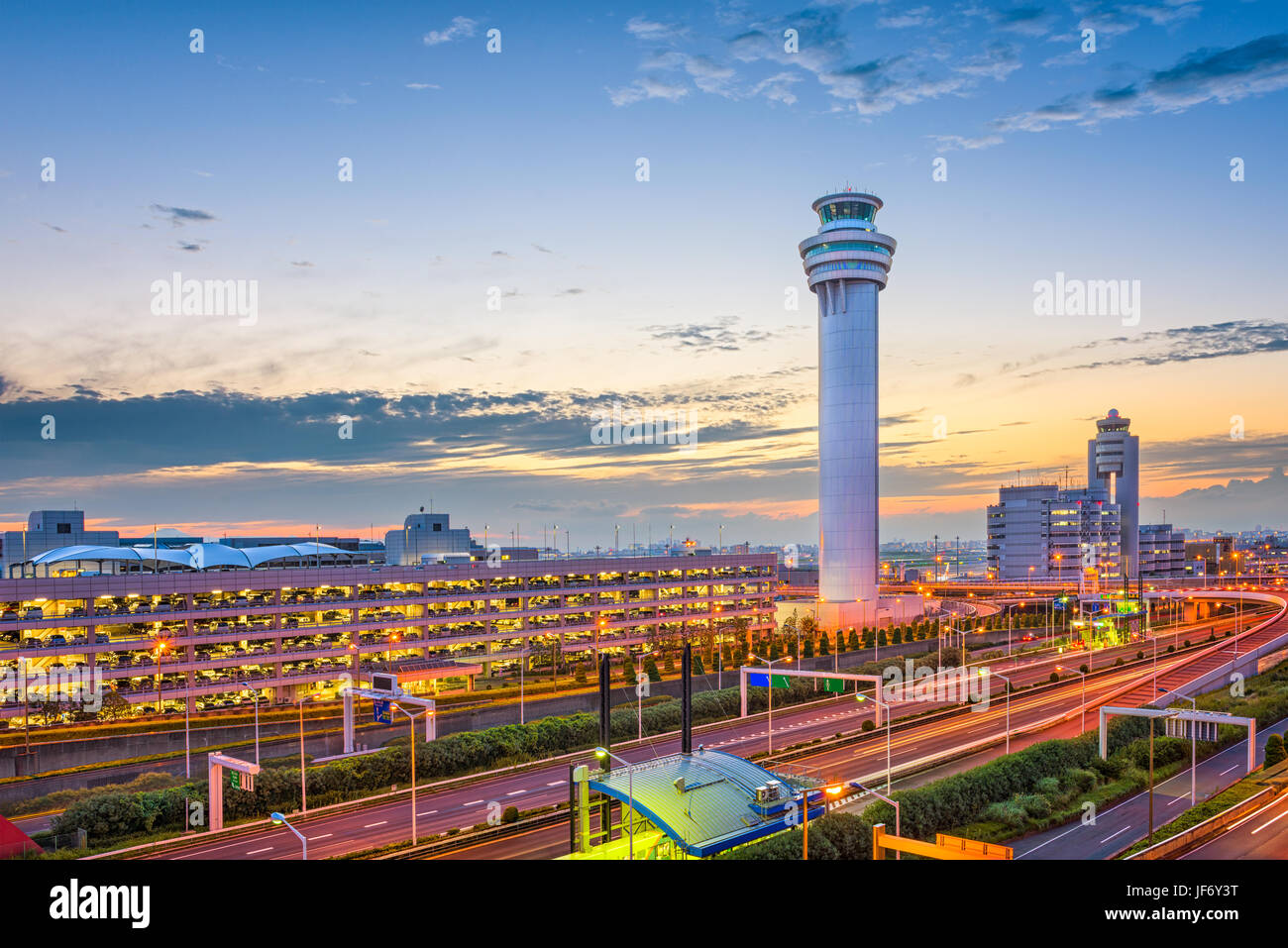 Tokyo, Japan at the control tower of Haneda Airport. - Stock Image