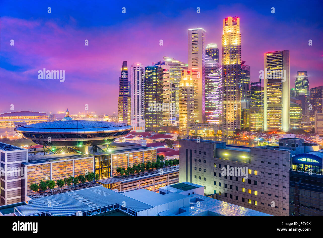 Singapore downtown skyline with the Supreme Court Building. Stock Photo