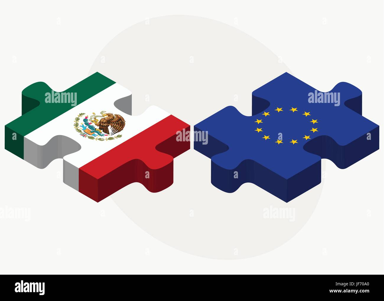 Mexico and European Union Flags in puzzle - Stock Image