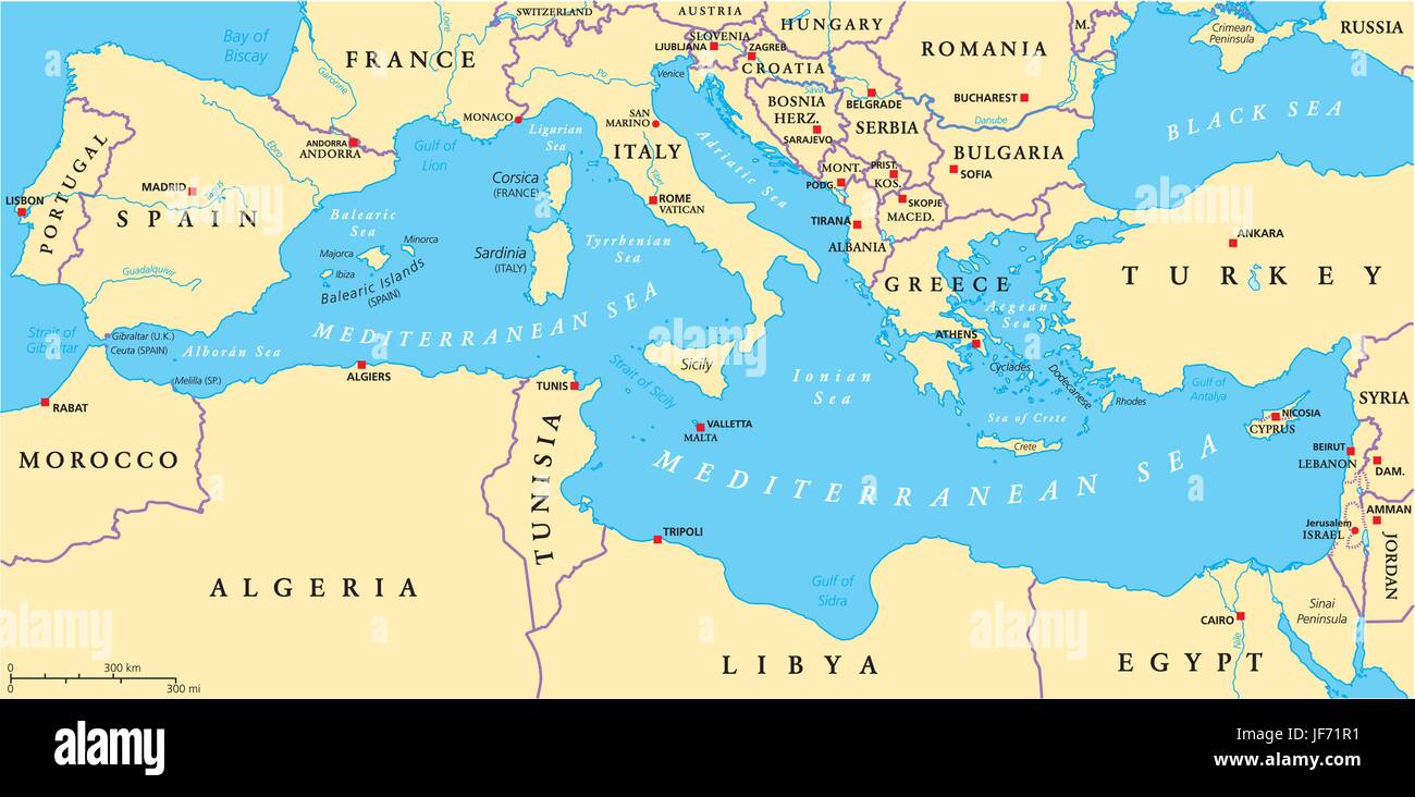 Mediterranean Sea Region Political Map - Stock Image